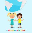 girl and boy holding hands under earth planet vector image
