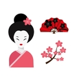 Japanese woman folk art maiden character vector image