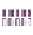 set of doors in white and black vector image