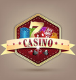 Casino with ribbon chips dice card and lucky seven vector image