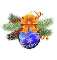 Blue Christmas ball with orange bow vector image