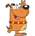 Dog Cartoon Character Waving For Greeting vector image vector image