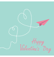 Origami paper plane Two dash heart Valentines day vector image