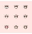 minimalistic flat ferret emotions icon set vector image