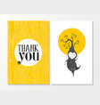 Thank you greeting card elf happy wood background vector image