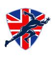 Runner Sprinter Start British Flag Shield vector image