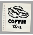 Coffee beans doodle vector image