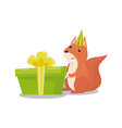 cute squirrel in party hat with big green gift box vector image