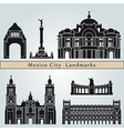 Mexico City landmarks and monuments vector image