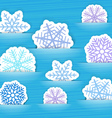 Blue christmas flakes in a pockets vector image