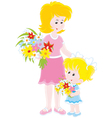 Mom and her daughter with flowers vector image