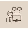 Network administrator sketch icon vector image