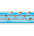 Children swimming in the swimming pool vector image vector image