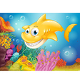 A smiling yellow shark under the sea vector image vector image