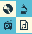 audio icons set collection of phonograph file vector image