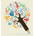Musical studies concept pencil tree vector image