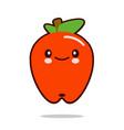 Apple fruit cartoon character icon kawaii flat vector image