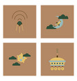set of space icons with rocket equipments for vector image vector image