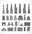 Modern city elements silhouettes collection vector image