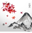Red japanese maple trees and Fujiyama mountain vector image