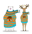 Hand drawn polar bear with deer wearing scarf vector image