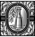 Retro olive oil black and white vector image