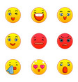 smiley faces icons set flat style vector image