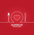 valentines day menu fork and knife with plate vector image