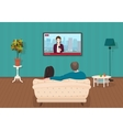 Young family man and women watching TV daily news vector image
