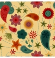 Flowers and paisley pattern retro vector image