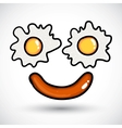 Fried egg Doodle style vector image vector image