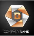 letter d logo symbol in the colorful hexagon on vector image