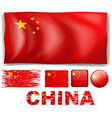 China flag in different design vector image