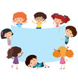 blue banner with happy children vector image