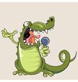 funny cartoon crocodile singing into a microphone vector image