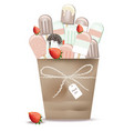 ice cream cones in a basket chocolate and vector image