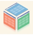 Simple colorful isometric browser window on white vector image