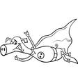 super pig cartoon coloring page vector image