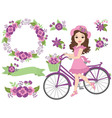 Girl with Bicycle vector image