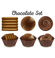 Different kind of chocolate in brown cups vector image