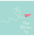 Origami paper plane Dash heart Valentines day vector image