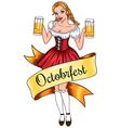 beer girl octoberfest vector image
