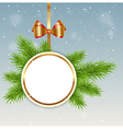Christmas background with round banner vector image vector image