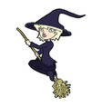 comic cartoon witch riding broomstick vector image