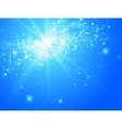 Blue sky and sun with light bokeh vector image