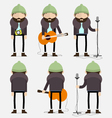 Bearded musician with green hat vector image