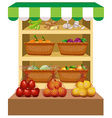 Fresh vegetables and fruits on shelves vector image