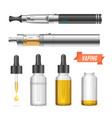 realistic vaping vaporizer liquid set vector image