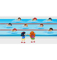 Kids practice swimming in the pool vector image vector image