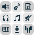 multimedia icons set collection of sound earmuff vector image